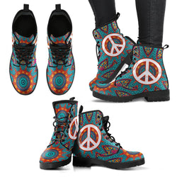 HandCrafted Peace Fractal Mandala Boots