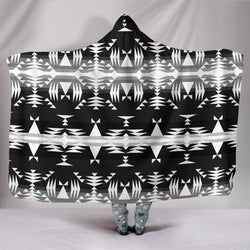 Mountains Black And White Hooded Blanket