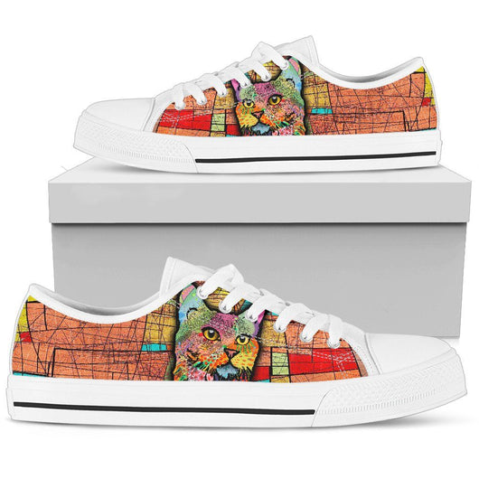 Multi-color Cat Women's Low Top Shoe