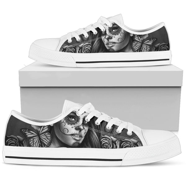 Women's Low Tops Calavera Gray (White Soles)