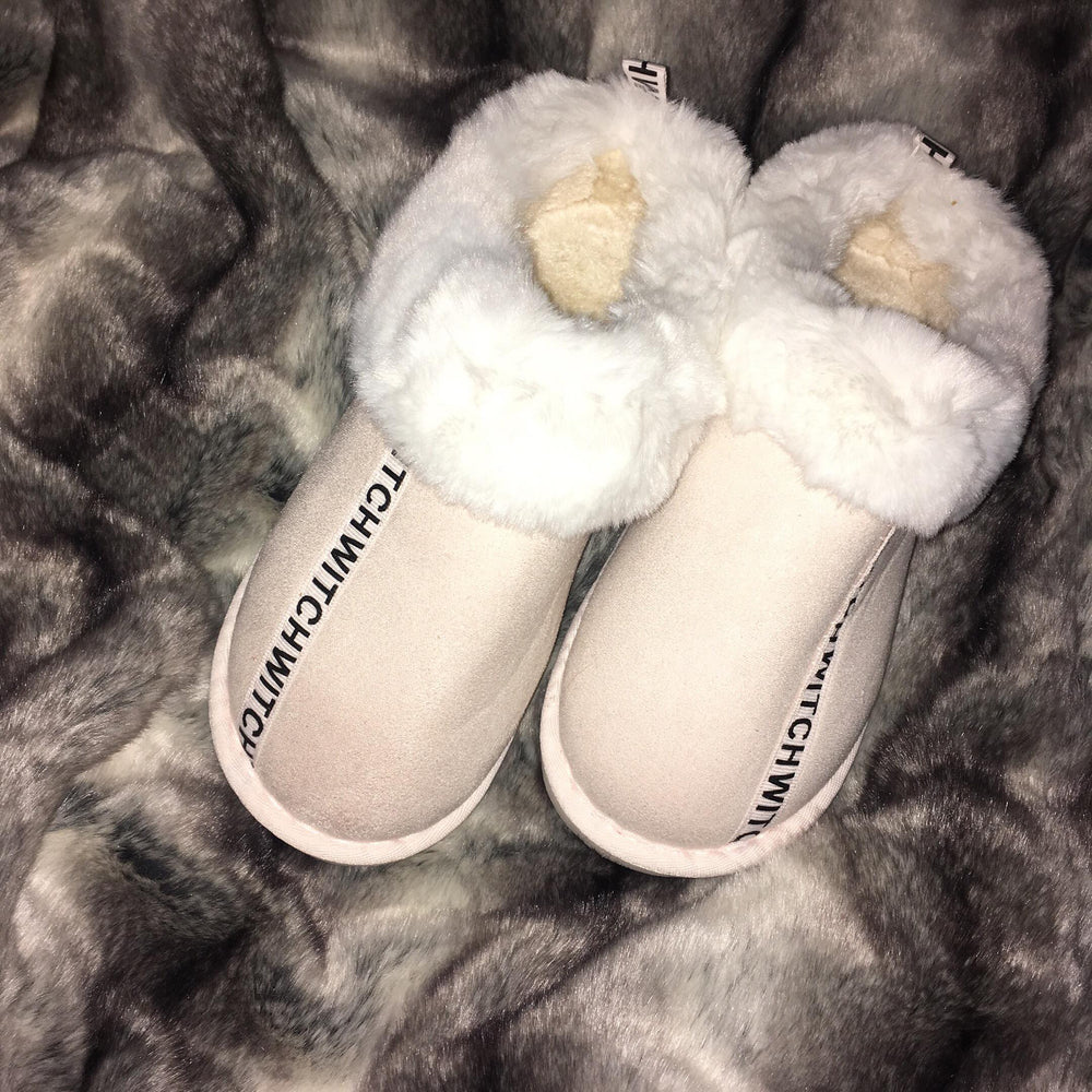 Bunny fur slippers