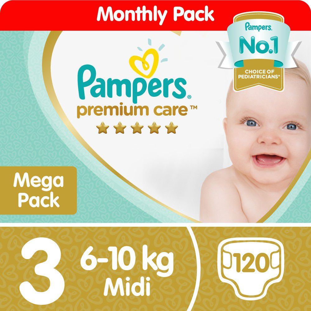 Pampers Premium Care -Size 3 Mega Pack -120 Nappies