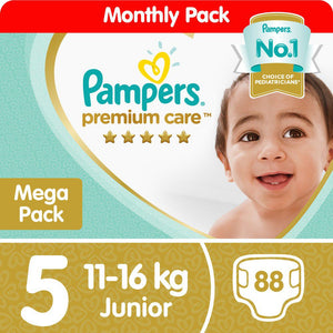 Pampers Premium Care -Size 5 Mega Pack - 88 Nappies