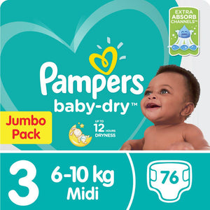 Pampers Baby Dry - Size 3 Jumbo Pack - 76 Nappies