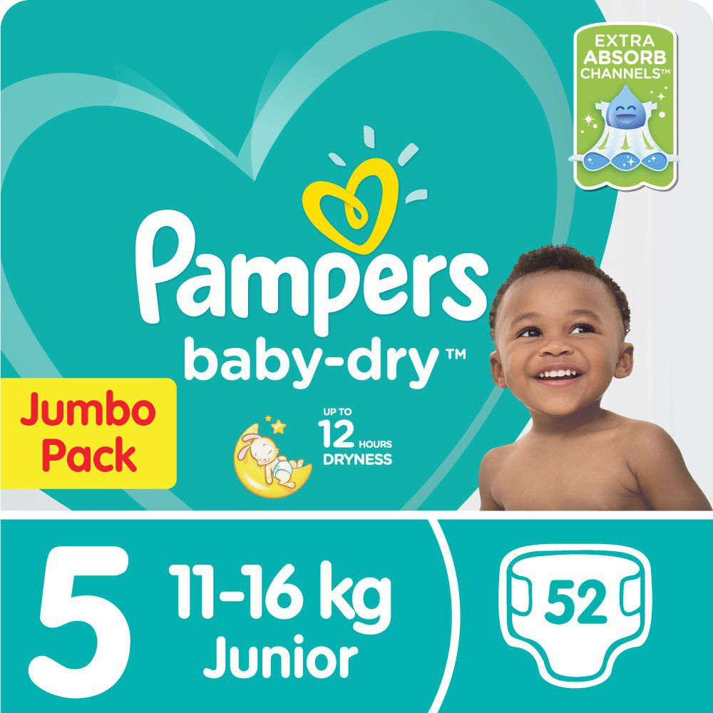 Pampers Baby Dry - Size 5 Jumbo Pack - 52 Nappies