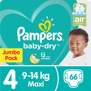 Pampers Baby Dry - Size 4 Jumbo Pack - 66 Nappies