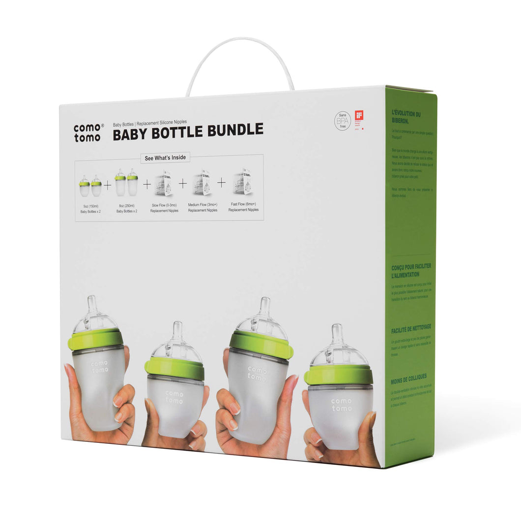 Comotomo Baby Bottle Bundle, Green