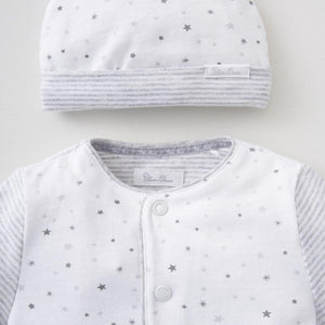 Silver Cross Star Print All in One & Hat set (0-3 months)