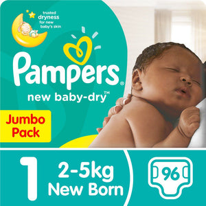 Pampers New Baby Dry - Size 1 Jumbo Pack - 96 Nappies