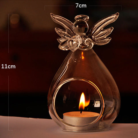 Glass Crystal Guardian Angle Candle Holder