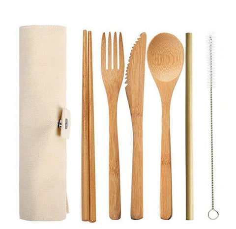 Wooden Flatware Cutlery Set Reusable