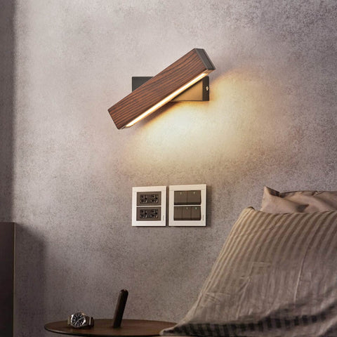 Modern Wood LED Rotating Wall Lamp