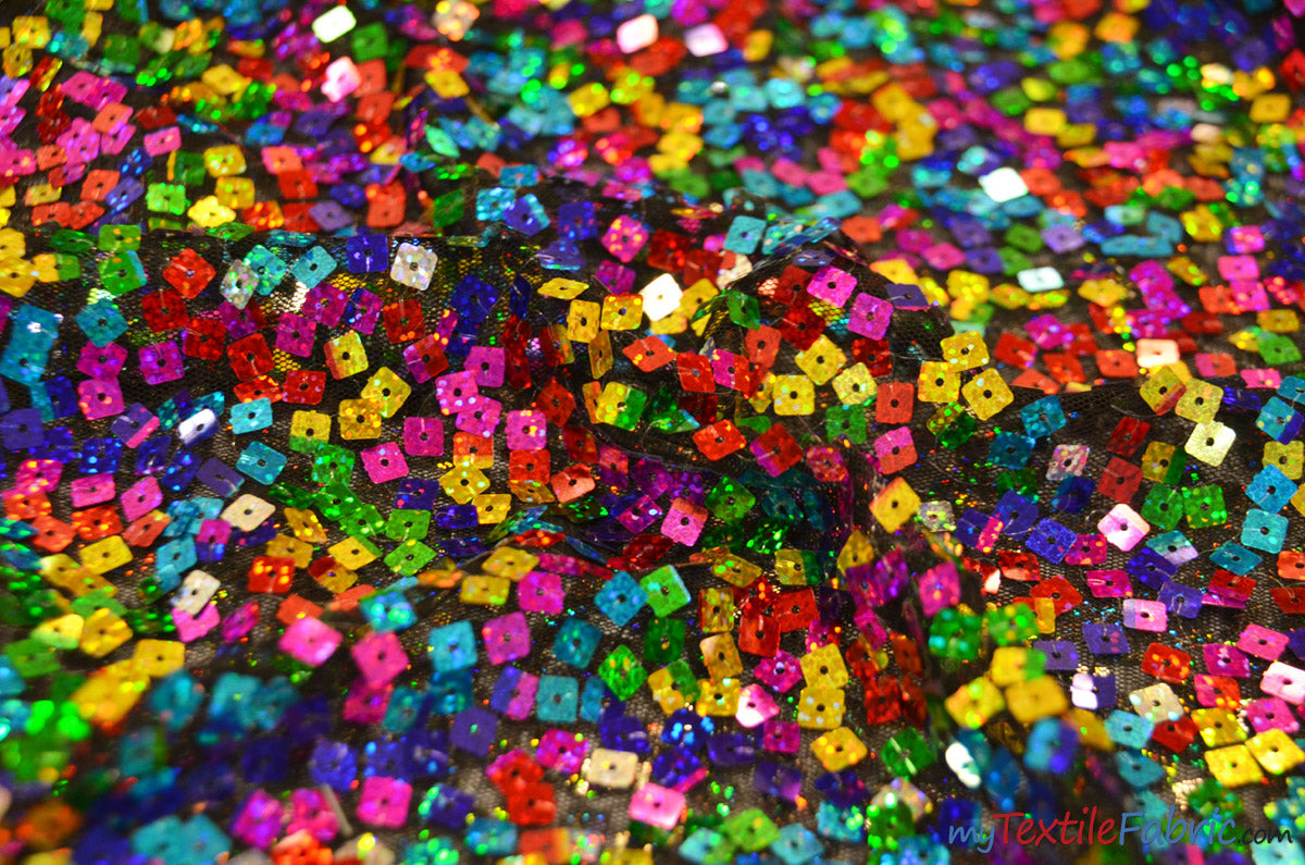 "Rainbow Square Sequins | Colorful Sequins Fabric Sewn on Mesh | 52"" Wide