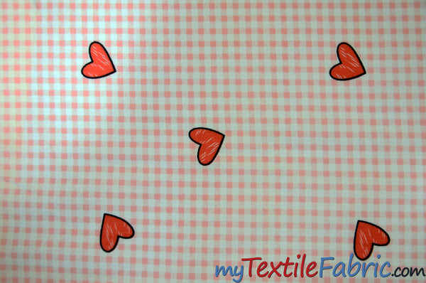 Valentine Heart Gingham Cotton Fabric by the Yard