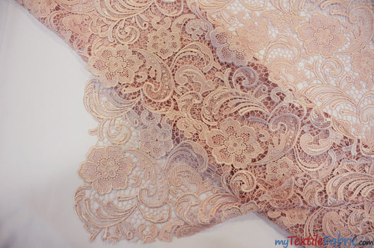 Guipure Bridal Lace Fabric | Heavy Double Scalloped Lace | 49