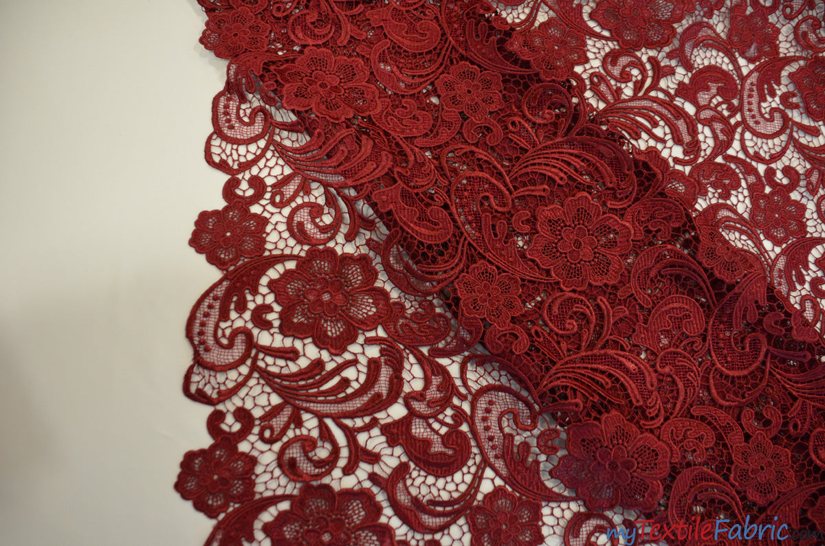 "Guipure Bridal Lace Fabric | Heavy Double Scalloped Lace | 49"" Wide 