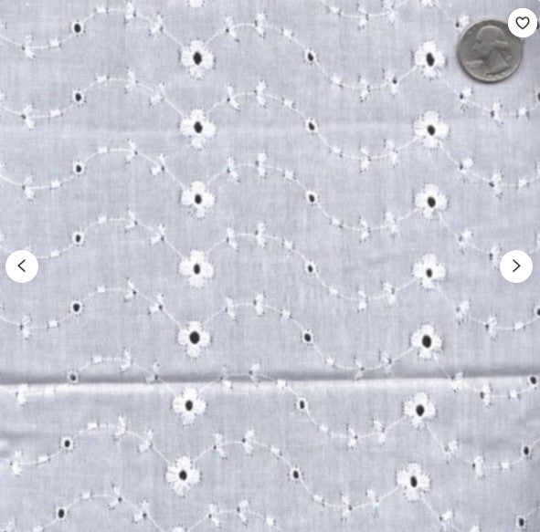 "100% Cotton Eyelet Embroidery | No Scallop Ends  | 60"" Wide 