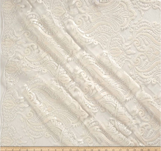 Medallion Bridal Lace | Sequins Damask Embroidery | 52