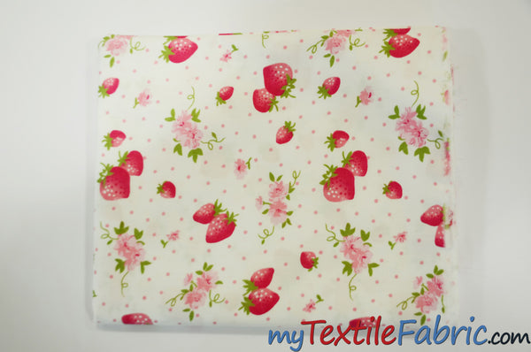 Pink Strawberry Flower Cotton