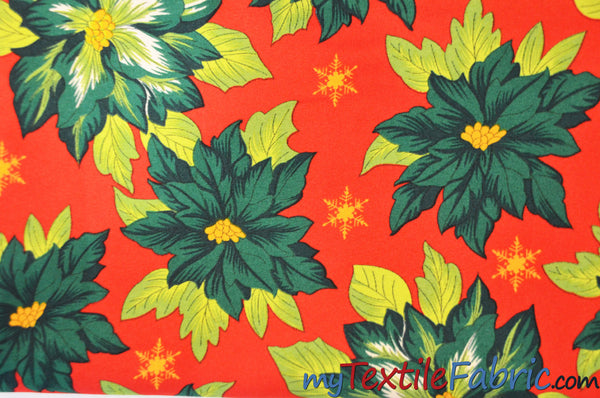 Polyester Poinsettia Christmas Floral Fabric