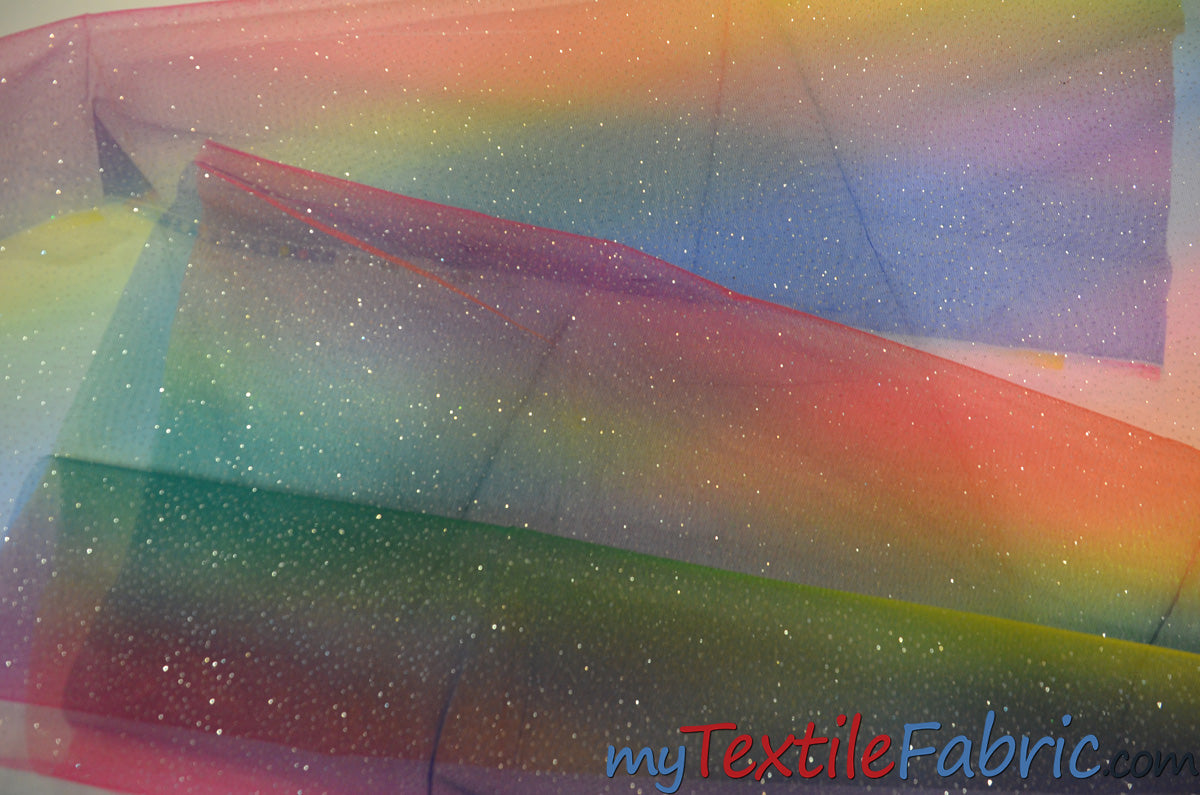 "Rainbow Tulle Glitter Fabric | LGBT Fabric | 60"" Wide 