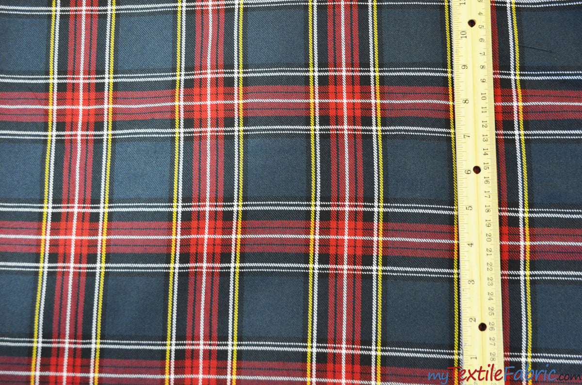 "Red and Grey Tartan Fabric | Red and Grey Plaid Checker | 60"" Wide 