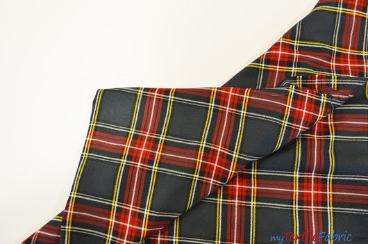 Red and Grey Tartan Fabric | Red and Grey Plaid Checker | 60