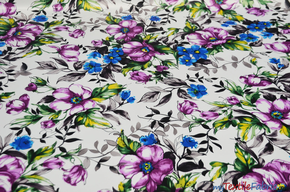 "Watercolor Floral Satin Print | Dull Satin Print | 58/60"" Wide 