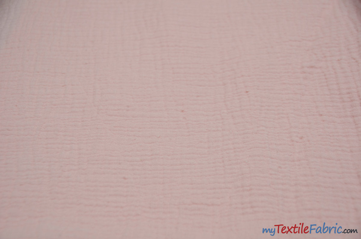 "Double Layer Cotton Gauze Fabric | Soft Double Layer Muslin | 48"" Wide 