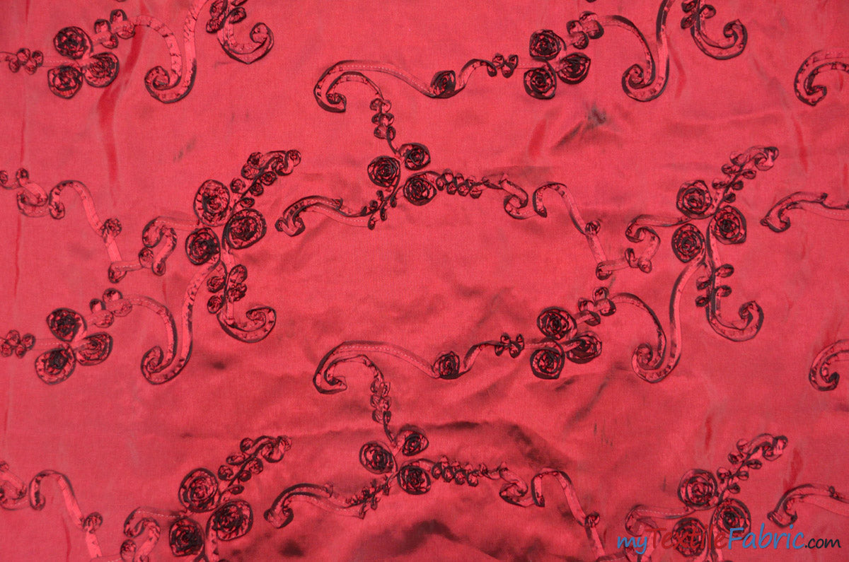"Ribbon Taffeta Fabric | Ribbon Cord Taffeta Embroidery | 54"" Wide 