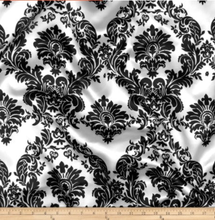 "Damask Satin Fabric | Silky Soft Satin Damask Charmeuse Fabric | 60"" Wide 