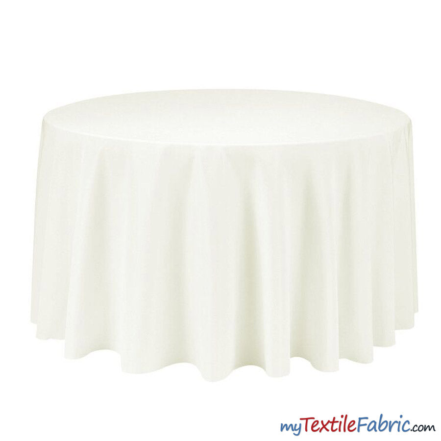 "90"" Round Polyester Seamless Tablecloth 