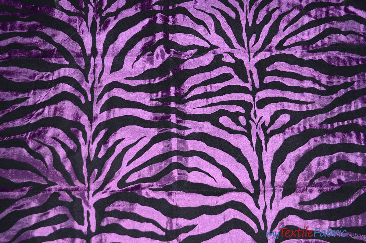 "Zebra Flocking Taffeta | Flocking Velvet Zebra on Taffeta Fabric | 60"" Wide 