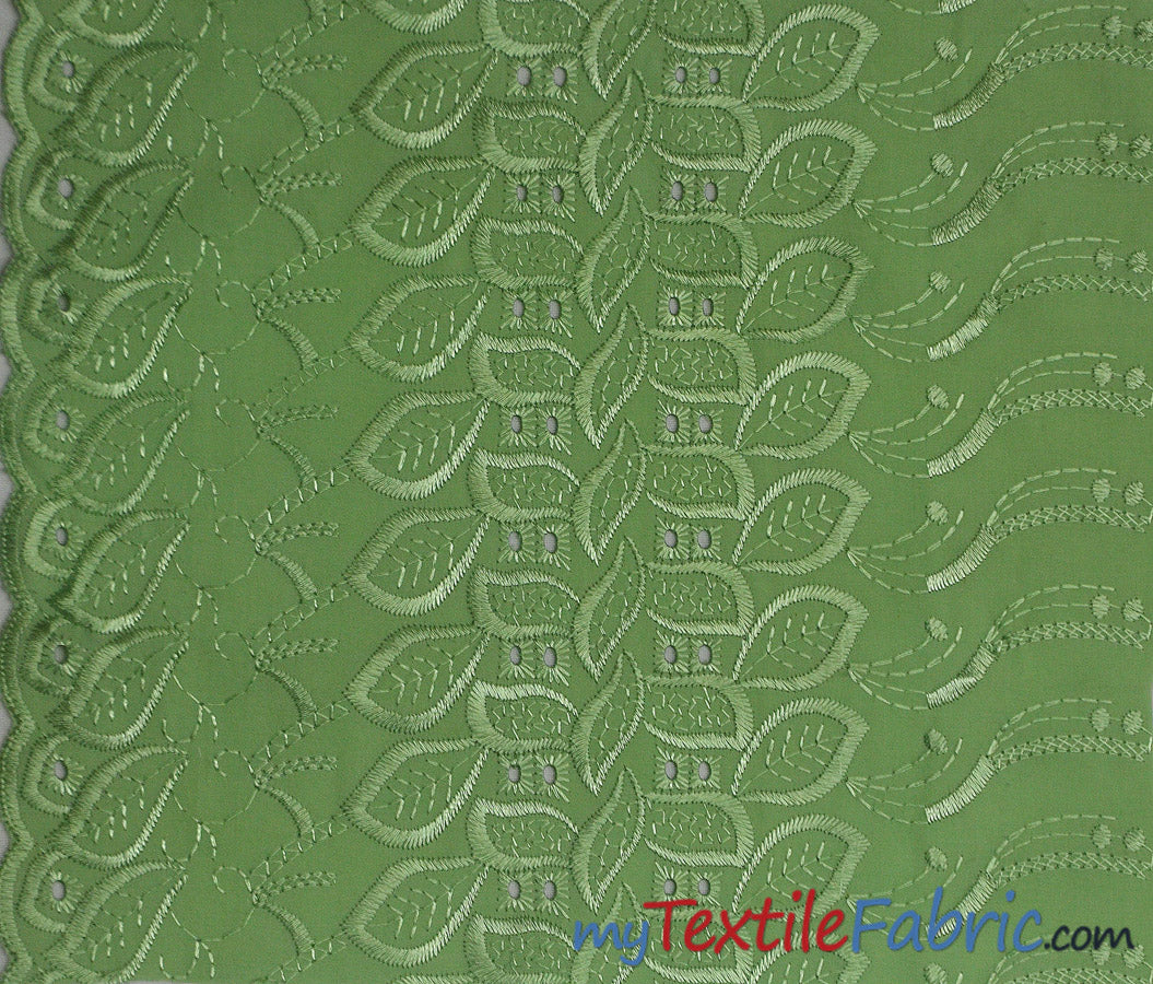 "100% Cotton Eyelet Embroidery | One Side Scallop | 45"" Wide 