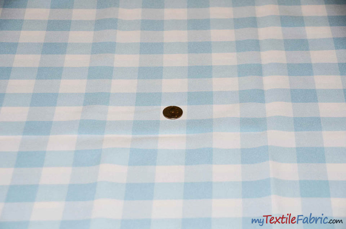 "Gingham Checkered Fabric | Polyester Picnic Checkers | 1"" x 1"" 