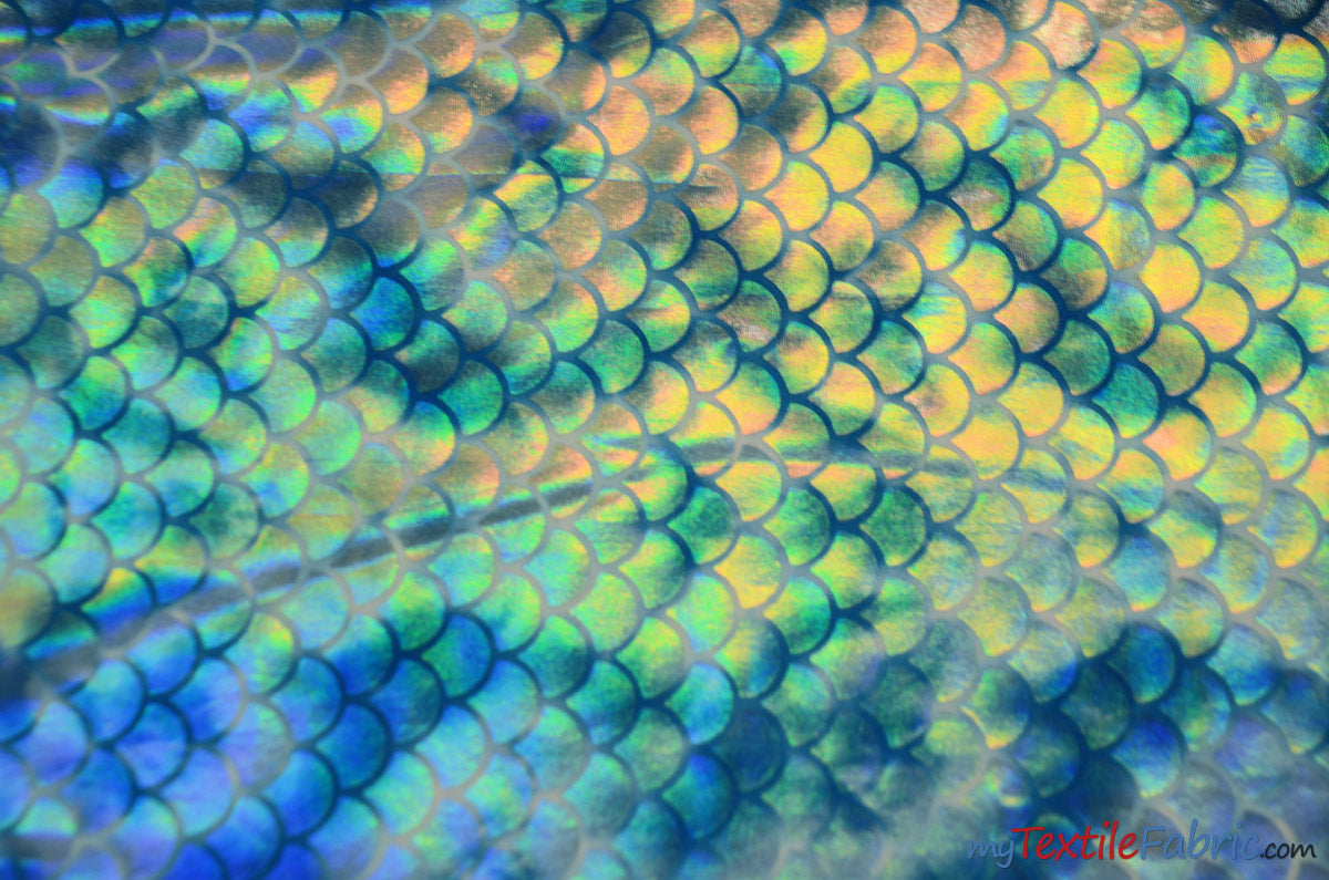"4 Way Stretch Dancewear Fabric | Ocean Mermaid Hologram Spandex | 58/60"" Wide 