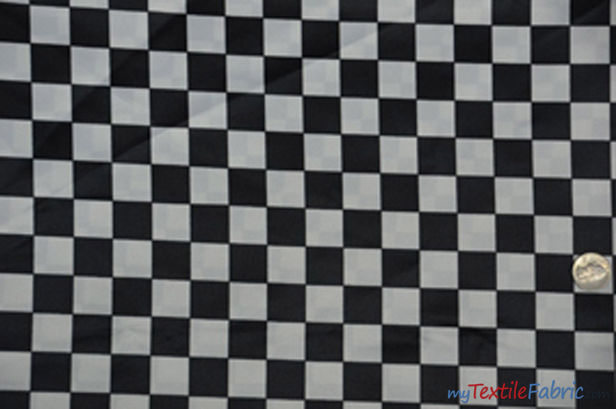 "1"" Checker Satin Print Fabric 