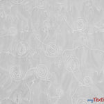 "Load image into Gallery viewer, Donatello Organza Embroidery Fabric | Embroidered Floral Sheer | 54"" Wide 