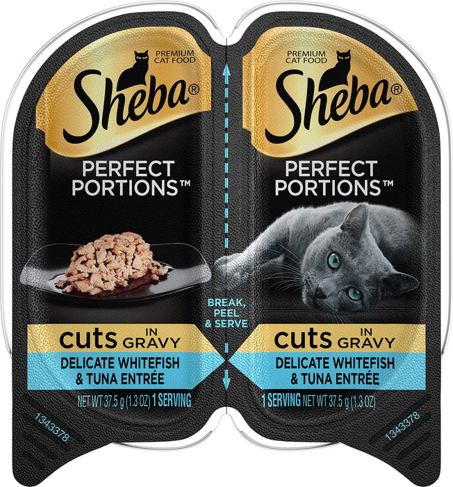SHEBA® PERFECT PORTIONS™ Cuts in Gravy Delicate Whitefish and Tuna Entrée 2.65oz