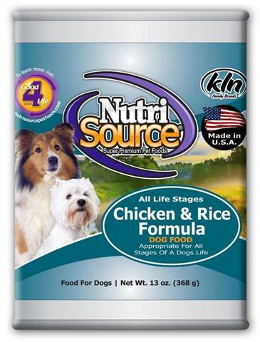 NutriSource Adult Chicken and Rice Canned Dog Food