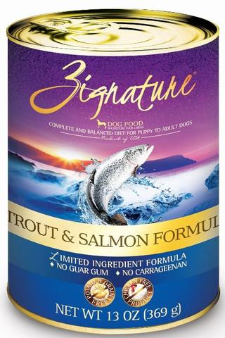 Zignature Trout and Salmon Limited Ingredient Grain Free Formula Canned Dog Food