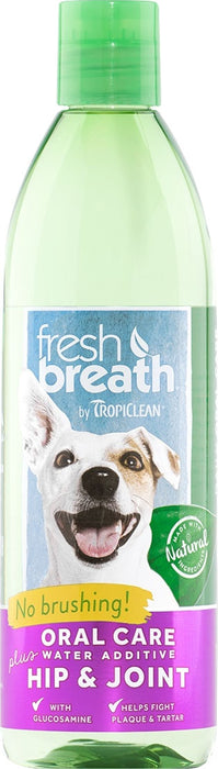 Fresh Breath by TropiClean Oral Care Water Additive Plus Hip and Joint for Dogs, 16oz