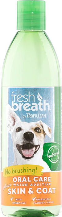 Fresh Breath by TropiClean Oral Care Water Additive Plus Skin and Coat for Dogs, 16oz