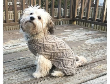 Fashion Pet Taupe Fisherman-Style Dog Sweater