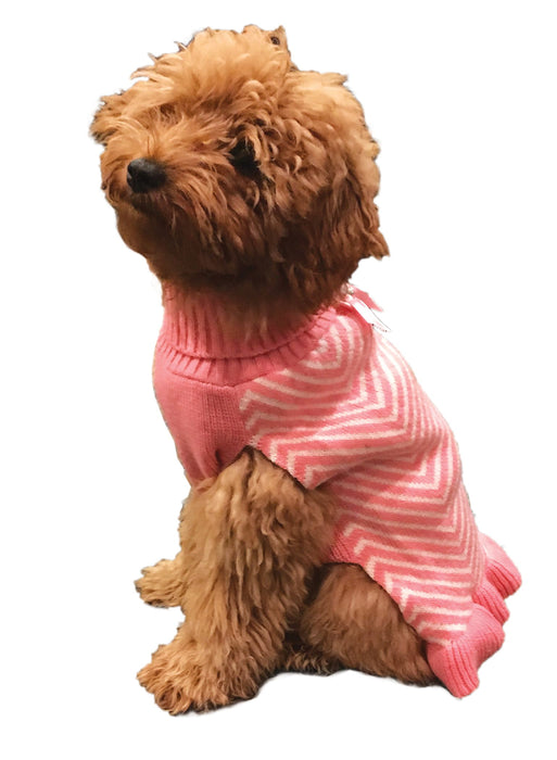 Fashion Pet Stripes & Ruffles Dog Sweater in pink