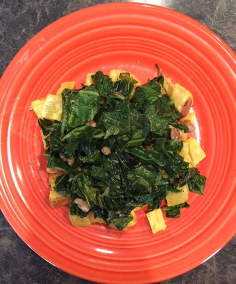 Collard Greens with Walnuts & Sweet Potato Breakfast
