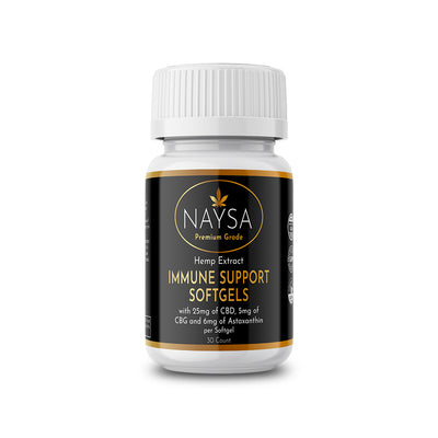 CBD Immune Support Softgels - 6mg Astaxanthin, 25mg CBD and 5mg CBG - NAYSA - 30 count