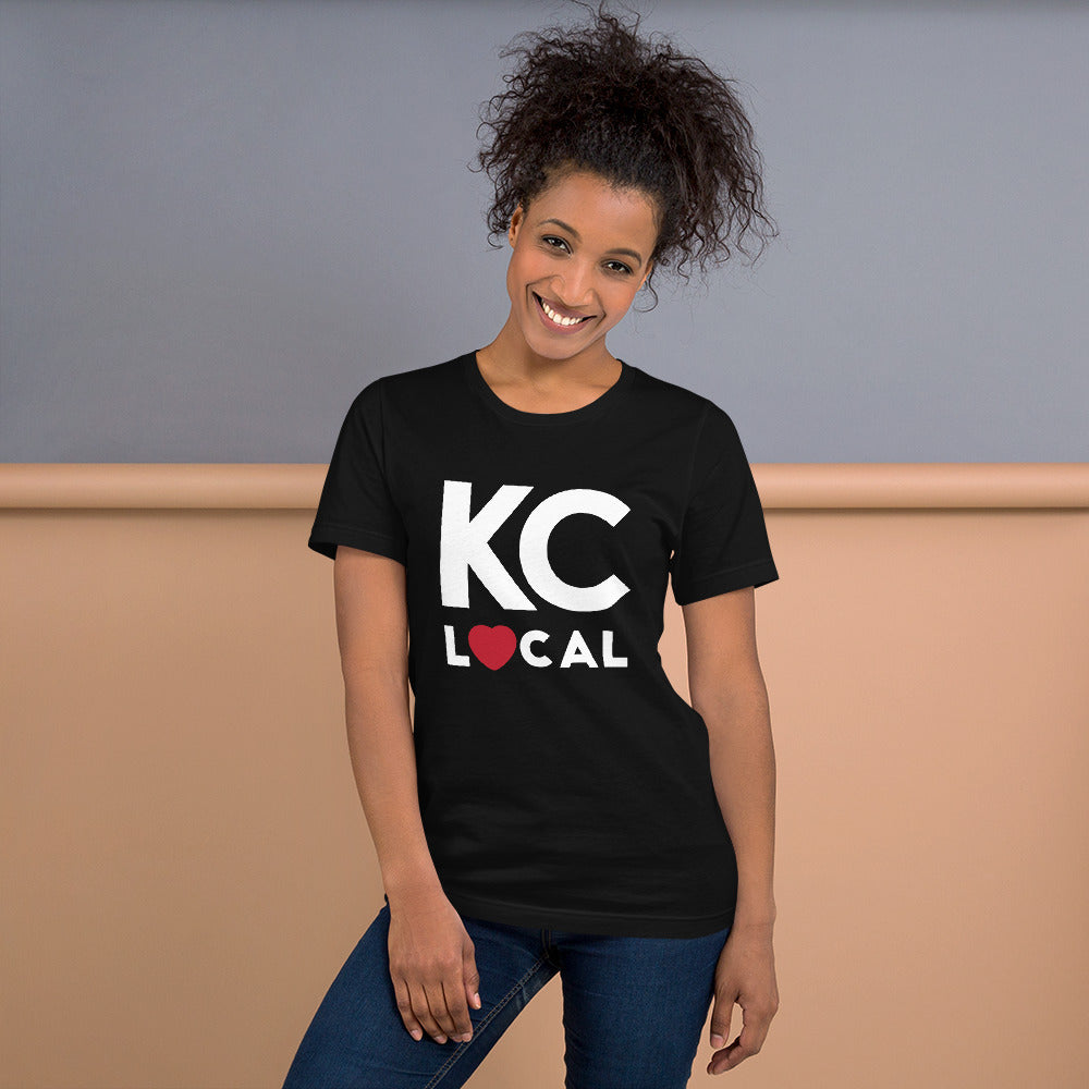 Female wearing KC Local Short-Sleeve Unisex Black T-Shirt