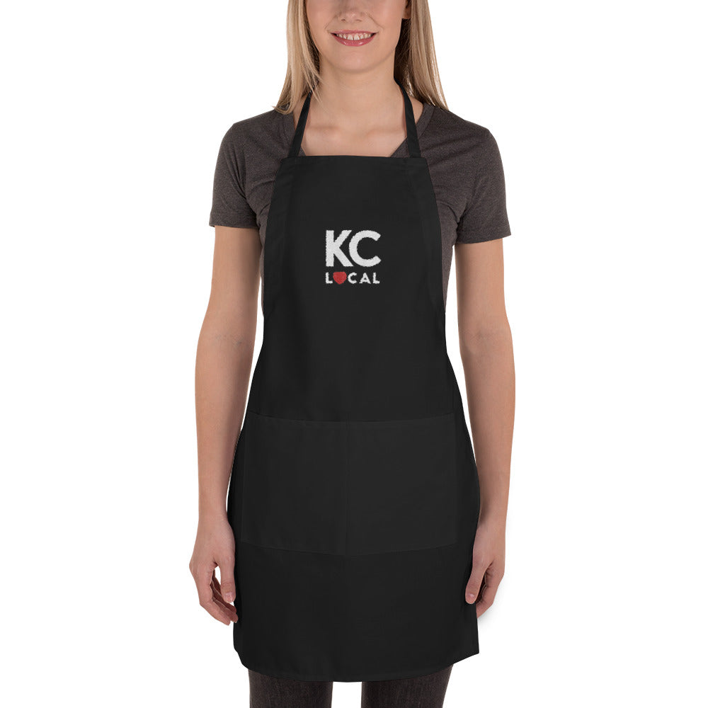 KC Local Black Embroidered Apron