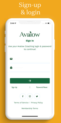 Avalow Garden Coaching App Login & Sign-up page